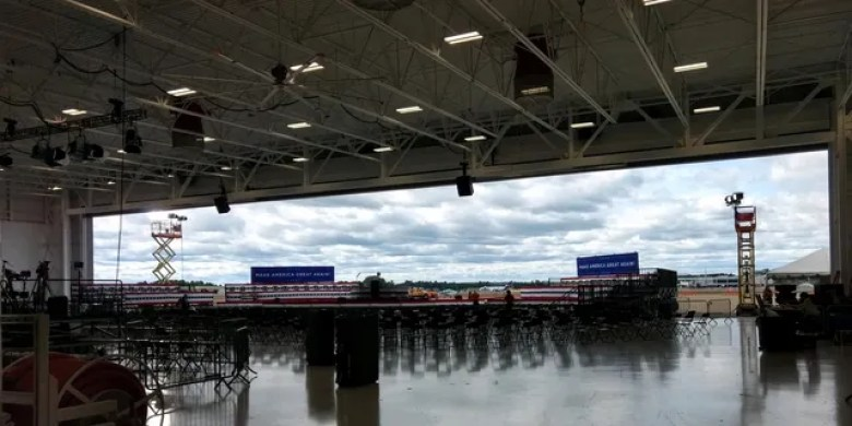 The hangar adjacent to Manchester-Boston Regional Airport in New Hampshire, where President Trump will hold his rally on Friday evening, Aug. 28, 2020.