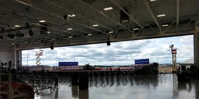 The hangar adjacent to Manchester-Boston Regional Airport in New Hampshire, where President Trump will hold his rally on Friday evening, Aug. 28.