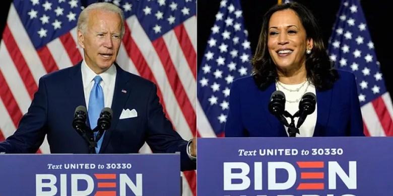 Presumptive Democratic presidential nominee Joe Biden and Sen. Kamala Harris, D-Calif., speak a campaign event at Alexis Dupont High School in Wilmington, Del., Wednesday, Aug. 12, 2020. (AP Photo/Carolyn Kaster)