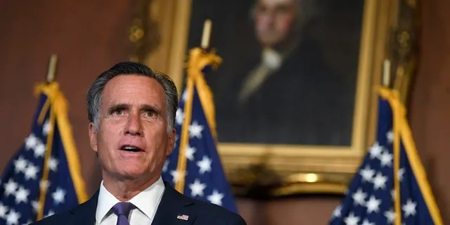 Sen. Mitt Romney, R-Utah, speaks during a news conference on Capitol Hill in Washington, Monday, July 27, 2020. (AP Photo/Susan Walsh)