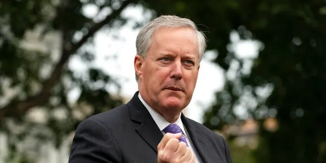 White House Chief of Staff Mark Meadows speaks with reporters at the White House, Thursday, Sept. 17, 2020, in Washington.