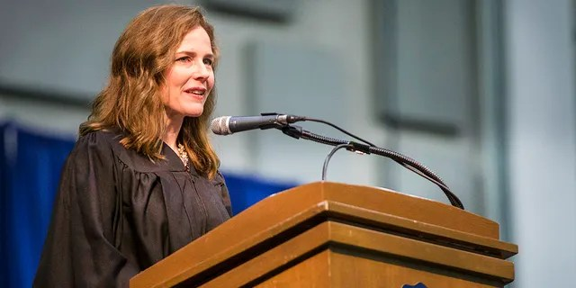 In this May 19, 2018, photo, Amy Coney Barrett, United States Court of Appeals for the Seventh Circuit judge, speaks during the University of Notre Dame's Law School commencement ceremony at the University of Notre Dame in South Bend, Ind. (Robert Franklin/South Bend Tribune via AP)