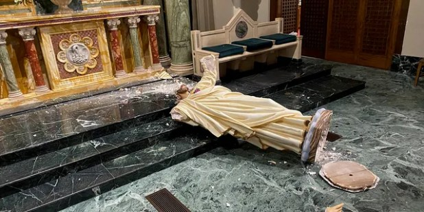The destruction left the clergy in shock.  (Courtesy of the Catholic Diocese of El Paso)