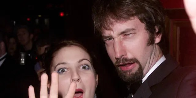 American actress Drew Barrymore and her boyfriend American comedian Tom Green attend the film premiere party for