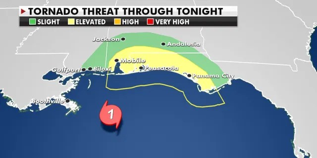 The tornado threat from Hurricane Sally east of the center of the storm.
