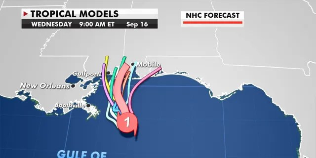 Forecast models showing the path of Hurricane Sally.