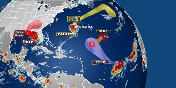 Tropical activity in the Atlantic basin on 14, 2020.