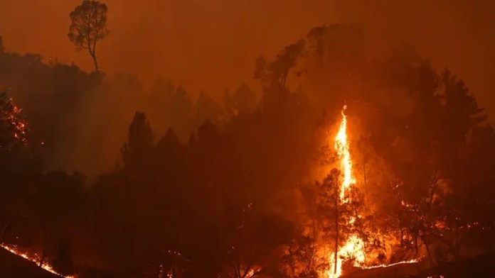 The Glass Fire burns in the hills of Calistoga, Calif., on Monday, Sept. 28, 2020. Calistoga is under mandatory evacuation on Monday night.