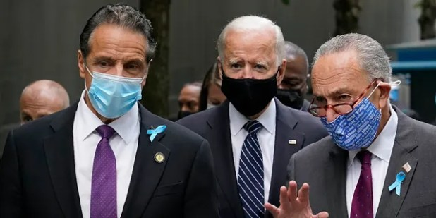 Democratic presidential nominee and former Vice President Joe Biden runs with the Center, New York government.  Andrew Cuomo, left, and Chuck Schumer of Senate Minority Sen. NY, after arriving at the National Memorial on Friday September 11 in New York.  September 11 to 2020, a ceremony, is the 19th anniversary of the 11th terrorist attacks.  (AP Photo / Patrick Semanski)