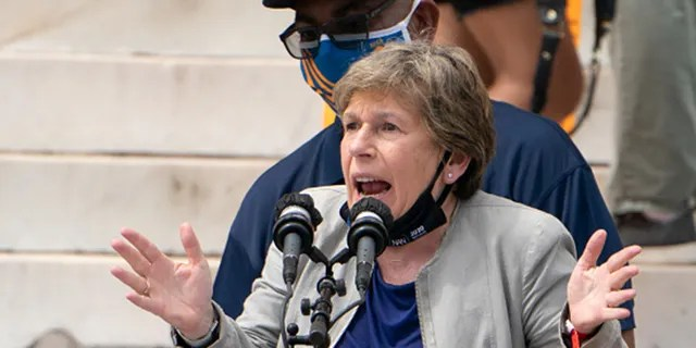 Randi Weingarten, president of the American Federation of Teachers, speaks, along with Everett Kelley, left, National President of the American Federation of Government Employees, during the