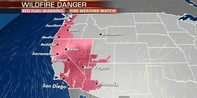 The wildfire danger continues out West on Tuesday.