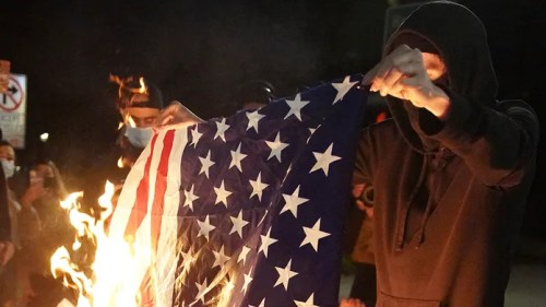 Portland unrest prompts arrests; objects thrown at officers, flag BURNED…