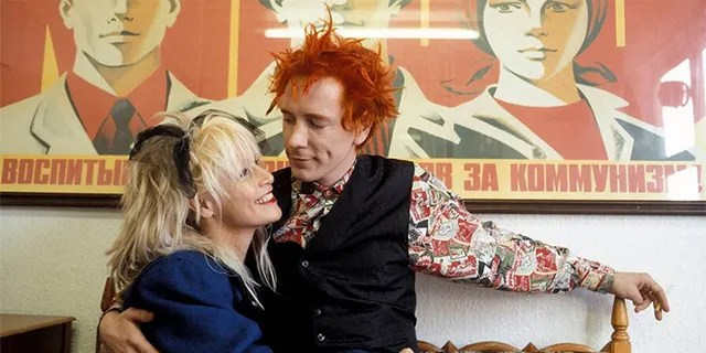 Johnny Rotten and his wife Nora Forster.