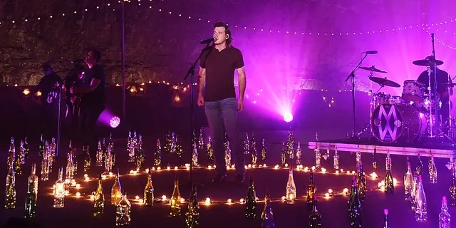 In this image released on October 21, Morgan Wallen performs at Ruskin Cave in Dickson, Tennessee for the 2020 CMT Award to be broadcast on October 21.