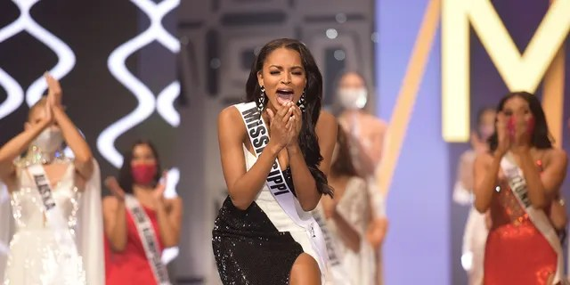Asya Branch, Miss Mississippi USA 2020, is announced Miss USA 2020 winner, on stage at the Miss USA Competition, on November 7, 2020, at Graceland in Memphis Tennessee.
