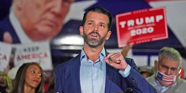 Donald Trump Jr., gestures as he speaks during a news conference at Georgia Republican Party headquarters Thursday, Nov. 5, 2020 in Atlanta. Trump Jr. will be speaking on Friday afternoon at CPAC. (AP Photo/John Bazemore)