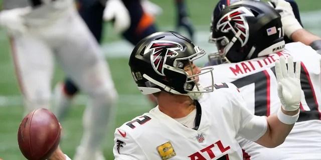 Atlanta Falcons quarterback Matt Ryan (2) works in the pocket during the second half of an NFL football game against the Denver Broncos, Sunday, Nov. 8, 2020, in Atlanta. (AP Photo/John Bazemore)