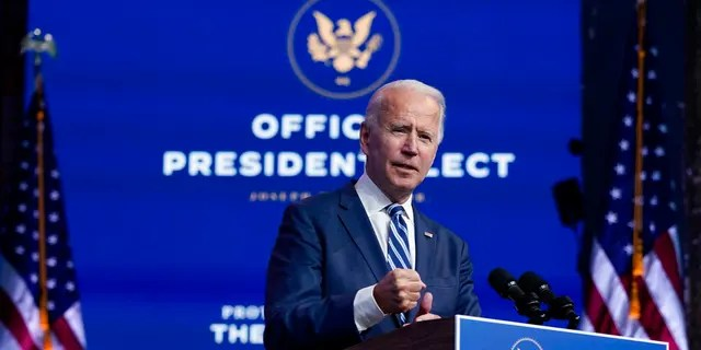 President-elect Joe Biden speaks at The Queen theater, Tuesday, Nov. 10, 2020, in Wilmington, Del.
