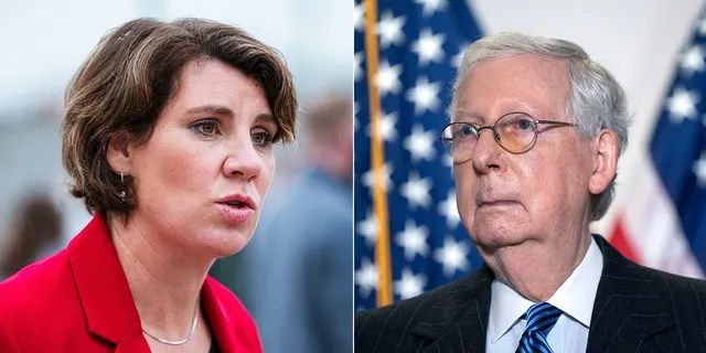 Amy McGrath and Mitch McConnell (photo credit: Getty images)