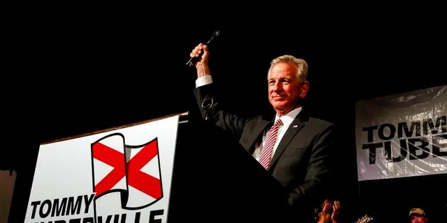 Former Auburn coach Tommy Tuberville speaks to supporters in Montgomery, Ala., after he defeated former Attorney General Jeff Sessions in a runoff election. (Associated Press)