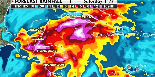 Forecast rainfall amounts from Hurricane Eta.