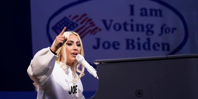 Lady Gaga performs during a drive-in rally for Democratic presidential candidate former Vice President Joe Biden at Heinz Field on Monday night.