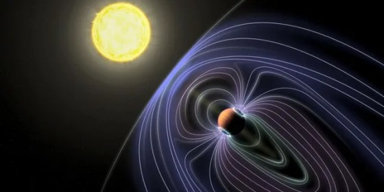 In this artistic representation of the Tau Boötes b system, the lines representing the invisible magnetic field are shown, protecting the hot planet Jupiter from solar wind.  (Jack Madden / Cornell University)