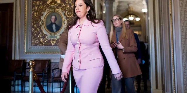 Representative Elise Stefanik, RN.Y., walks through the Senate Reception Hall prior to the start of the Senate impeachment process on Monday, January 27, 2020. Stefanik seeks to become the new Chair of the House GOP Conference if Representative Liz Cheney is ousted.  (Photo by Bill Clark / CQ-Roll Call, Inc via Getty Images)