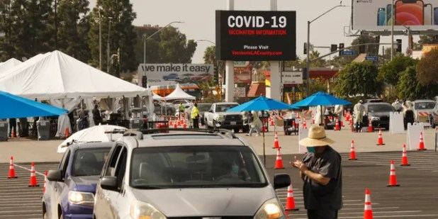 He has been criticized for the slow rollout of California's distribution plan for the COVID-19 vaccine.  (Getty Images by Al Saeeb / Los Angeles Times)