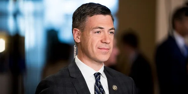 Rep.  Jim banks, R-And, does a television interview in the Capitol on Wednesday, September 27, 2017.  (Bill Clarke / CQ Roll Call)
