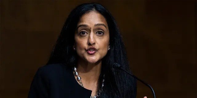 FILE-- Vanita Gupta, president and CEO of the Leadership Conference on Civil and Human Rights, during a Senate Judiciary Committee hearing on Tuesday, June 16, in the Durksen Senate Office Building in Washington, DC, regarding police use and community relations.  , 2020. (Photo by Tom Williams / CQ-Roll Call, Inc. via Getty Images / POOL)