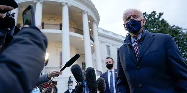 President Joe Biden talks to reporters on the South Lawn of the White House before riding in Marine One on Tuesday, February 16, 2021 in Washington.  (AP Photo / Patrick Semanski)