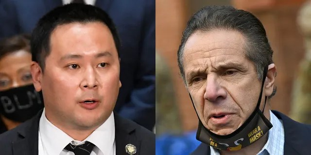 New York state Assemblyman Ron Kim, left, has been a vocal critic of embattled New Yorkl Gov. Andrew Cuomo (AP/ Reuters)