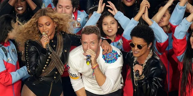 Coldplay, Beyoncé and Bruno Mars performed the Super Bowl 50 halftime show in 2016.