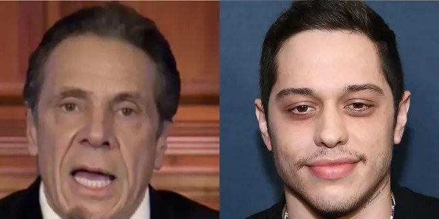 """Gov. Andrew Cuomo, left, was impersonated by """"SNL"""" cast member Pete Davidson this weekend. (Associated Press/Getty Images)"""