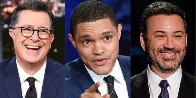 """Liberal late-night hosts such as Stephen Colbert, left, Trevor Noah, center, and Jimmy Kimmel are """"predictable,"""" Bill Maher says."""