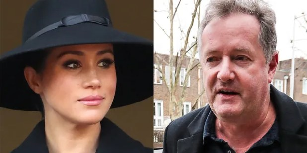 Piers Morgan (right) took to Twitter, where he responded to Gayle King's comments about Meghan Markle (left).
