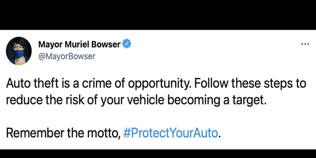A screengrab of a now-deleted tweet by D.C. Mayor Muriel Bowser