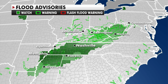 Flood advisories currently in effect Monday. (Fox News)