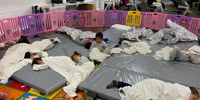Images of migrant children arriving on Friday, March 26, 2021 at the Donna US Customs and Border Protection (CBP) facility in Texas.  Sen. Mike Braun took photos while touring the facility with other GOP senators.