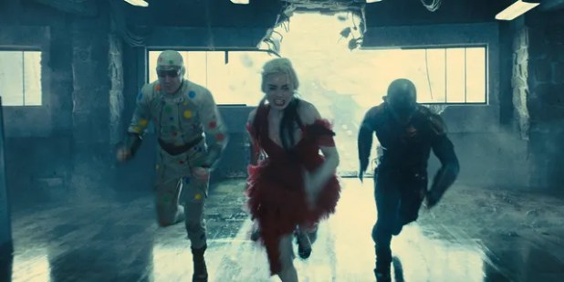 David Dastmalchian, Margot Robbie and Idris Elba in