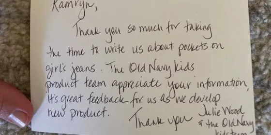 Old Navy eventually responded to Gardner with a handwritten note and four girls' jeans with pockets.