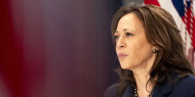 Vice President Harris meets virtually with community leaders on COVID-19 public education efforts. Harris will visit Mexico Tuesday as part of her first foreign trip as the vice president. (Leigh Vogel/UPI/Bloomberg via Getty Images)