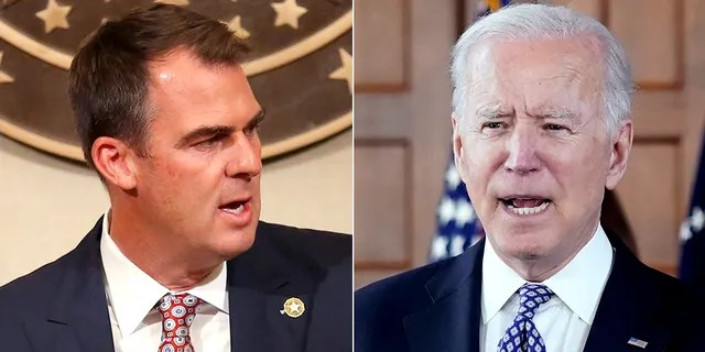In Oklahoma, Republican Gov. Kevin Stitt, left, who faces reelection next year, has issued a slick video on President Biden's Afghanistan performance. (Reuters/AP)