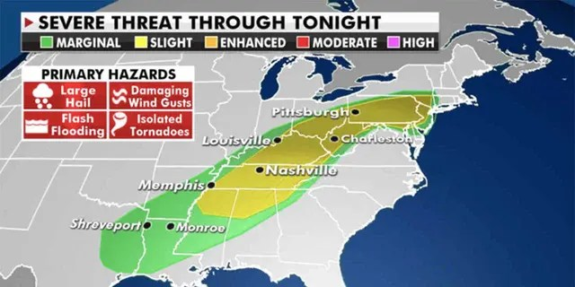 The Storm Prediction Center has issued a Slight Risk of severe thunderstorms (Credit: Fox News)