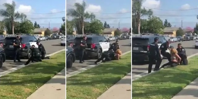 California police officers stop fellow officer from punching handcuffed woman during arrest.
