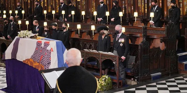 Mourners including, front row from left, Kate Duchess of Cambridge, Prince William, Prince Edward, Viscount Severn, Lady Louise Mountbatten-Windsor, Sophie Countess of Wessex, Camilla Duchess of Cornwall and Prince Charles during the funeral of Prince Philip, at St George's Chapel in Windsor Castle, Windsor, England, Saturday April 17, 2021.