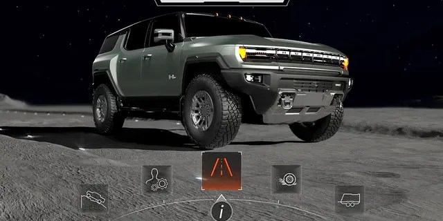 The HUMMER EV's digital display animations feature outer space imagery.