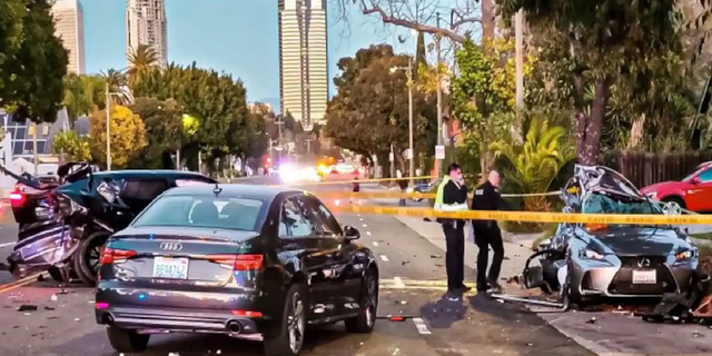 Monique Munoz was turning left when a Lamborghini T-boned her at this intersection, sending her car flying into a tree. (LAPD West Traffic Division)