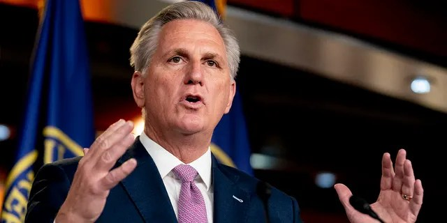 In this April 22, 2021, file photo, House Minority Leader Kevin McCarthy of Calif., speaks during his weekly press briefing on Capitol Hill in Washington. (AP Photo/Andrew Harnik, File)